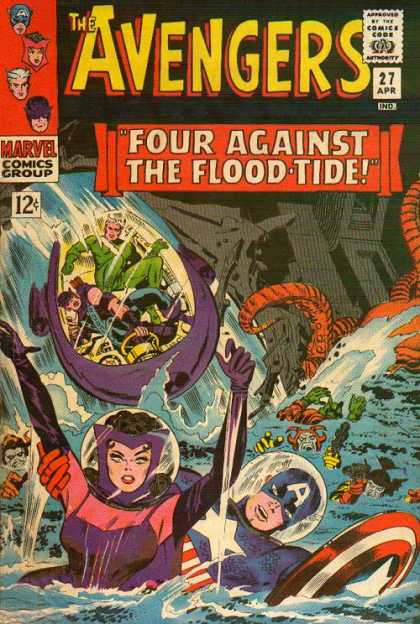 Avengers 27 - Captain America - Four Against The Flood-tide - Marvel Comics Group - 27 Apr - Water
