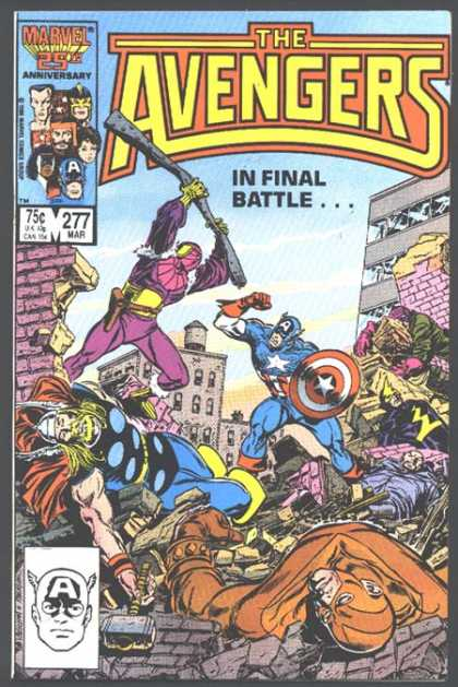 Avengers 277 - Captain America - Final Battle - Buildings - War - Fallen - John Buscema
