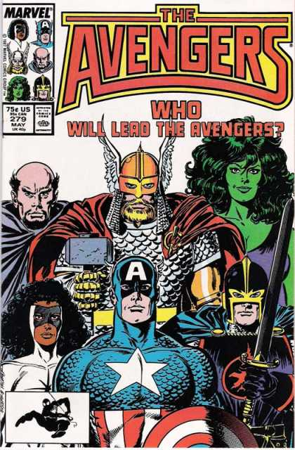 Avengers 279 - Captain America - She-hulk - Thor - Who Will Lead The Avengers - Portrait - John Buscema