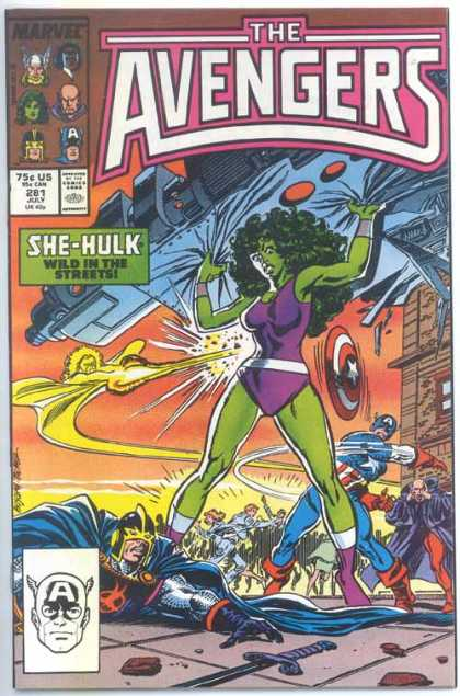 Avengers 281 - She-hulk - Wild In The Streets - Captain America - Black Knight - Space Ship - John Buscema