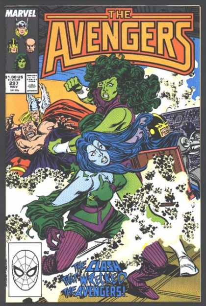 Avengers 297 - Wrecked - Clash - Green Hair - Green Body Female - Blue Hair - John Buscema