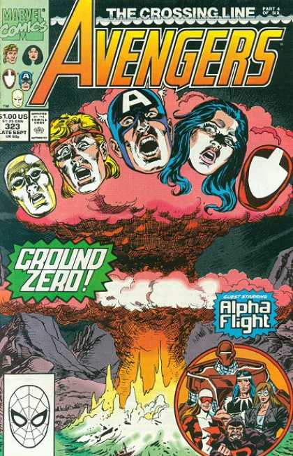Avengers 323 - Explosion - Fire - Captain America - Alpha Flight - Paul Ryan