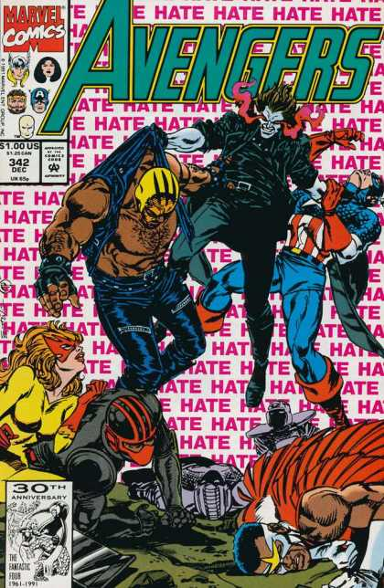 Avengers 342 - Red Eyes - Yellow Mask - Captain America - Hate - Pale Skin - Steve Epting