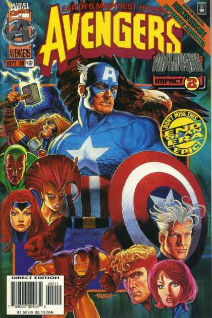 Avengers 402 - Marvel Comics - Earths Mightest Heros - Captain America - End Of An Era - Onslaught Impact 2