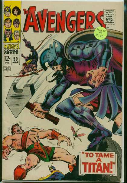 Avengers 50 - Hammer - Titan - Hawkeye - Marvel Comics Group - Approved By The Comics Code - John Buscema