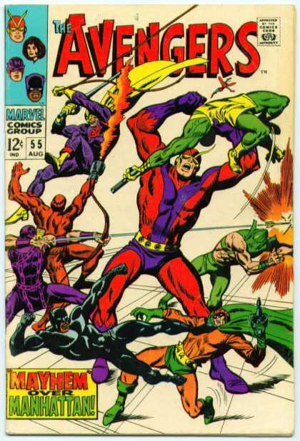 Avengers 55 - Approved By The Comics Code - Marvel Comics Group - Superhero - Mayhem Over Manhattan - Bow - John Buscema