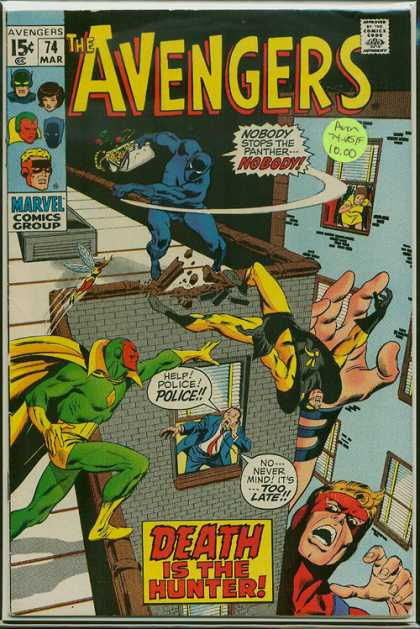 Avengers 74 - Death Is The Hunter - The Panther - Man In Yellow And Black Outfit Falling Off The Roof - Man In Blue Suit Calling The Police - White Purse Full Of Money - John Buscema