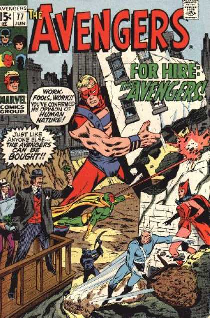 Avengers 77 - For Hire - Approved By The Comics Code Authority - Marvel Comics Group - Cap - 77 Jun - John Buscema