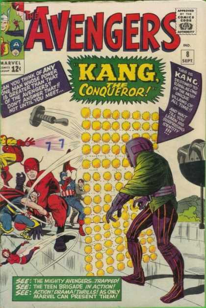 Avengers 8 - Kang - Iron Man - Thor - Approved By The Comics Code - Marvel - Dick Ayers, Jack Kirby