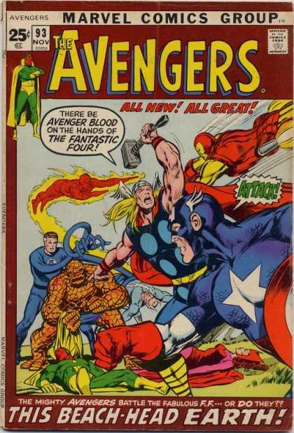 Avengers 93 - Thor - Fantastic Four - Marvel - Hammer - The Thing - Neal Adams