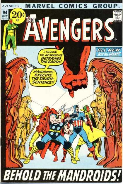 Avengers 94 - Marvel Comics - 94 Dec - All New - All Great - Behold The Mandroids - Neal Adams