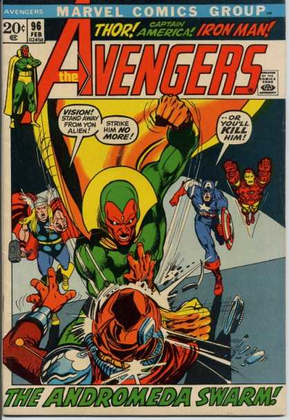 Avengers 96 - Marvel Comics Group - 96 Feb - Approved By The Comics Code Authority - The Andromeda Swarm - Kill - Neal Adams