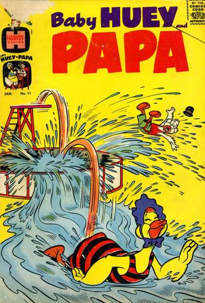 Baby Huey and Papa 11 - A Fun-loving Baby Duck - Too Big For The Pool - Papa Duck Caught Unprepared - Huey Pops Out Of The Pool - Displaced Water