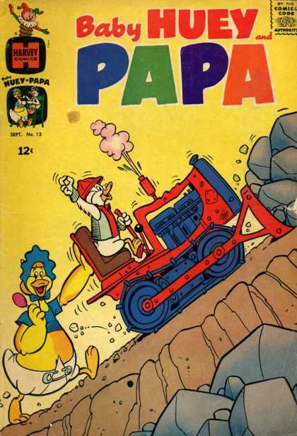 Baby Huey and Papa 13 - Harvey Comics - Duck - Jack In The Box - Diapers - Rocks