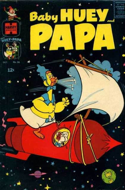 Baby Huey and Papa 26 - Outer Space - Rocket - Sails - Baby - Diaper