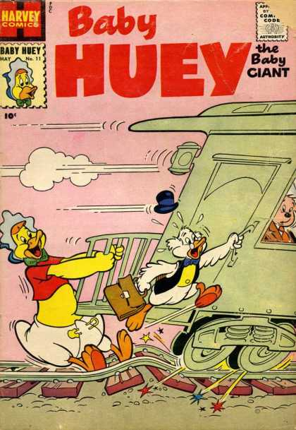 Baby Huey the Baby Giant 11 - Harvey Comics - Ducks - Train - Top Hat - Train Tracks