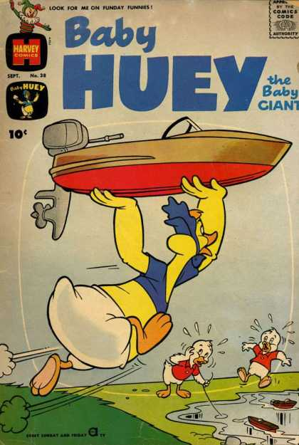 Baby Huey the Baby Giant 38 - Harvey Comics - Brown Green Boat - Blue Shirt - Baby Giant - Yellow Duck