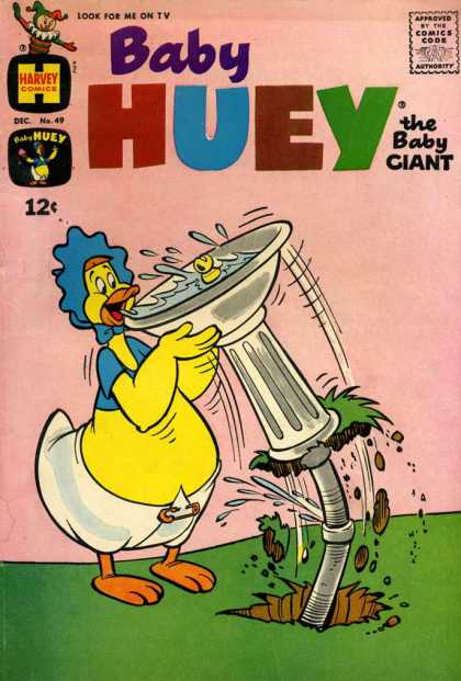Baby Huey the Baby Giant 49 - Bird Bath - Blue Bonnet - Diaper - Thirsty - Leaky Pipe