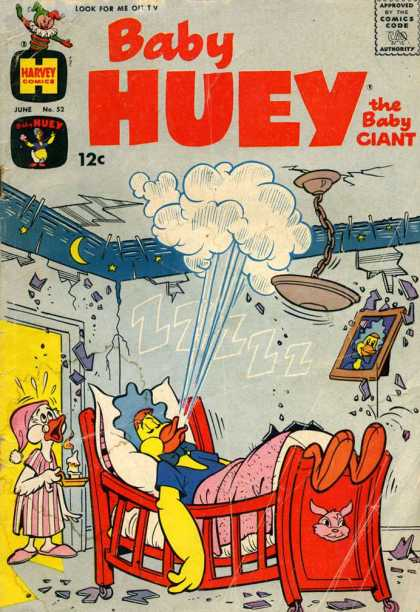 Baby Huey the Baby Giant 52 - Bed - Picture - Sleeping - Cracking Ceiling - Nightgown