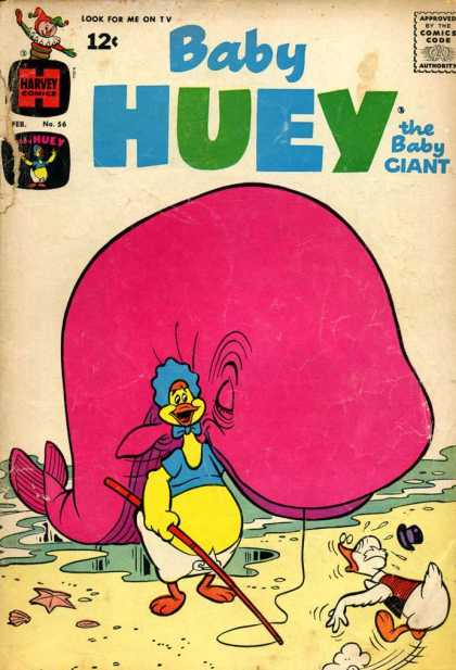 Baby Huey the Baby Giant 56 - Harvey Comics - Pink Whale - Yellow Duck - Fishing Pole - Blue Shirt