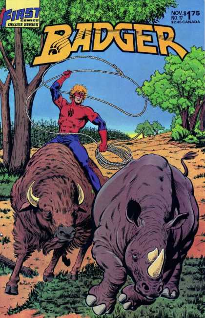 Badger 17 - Buffalo - Rhinocerous - Lasso - Cornfield - First Comics