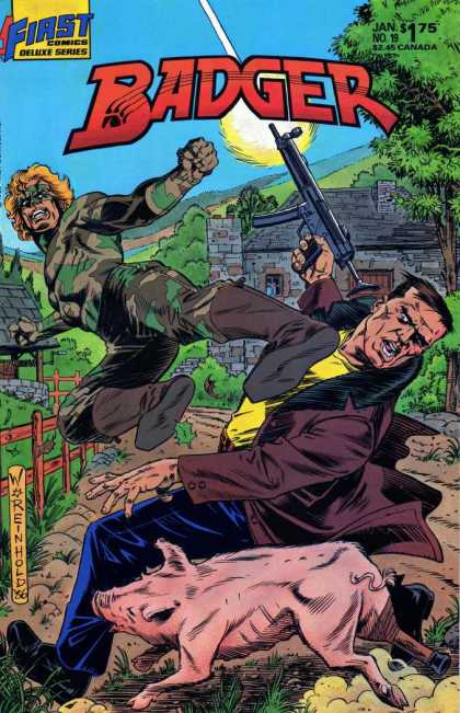 Badger 19 - Classic - Worenhold - First Comics Deluxe Series - Action - War - Bill Reinhold