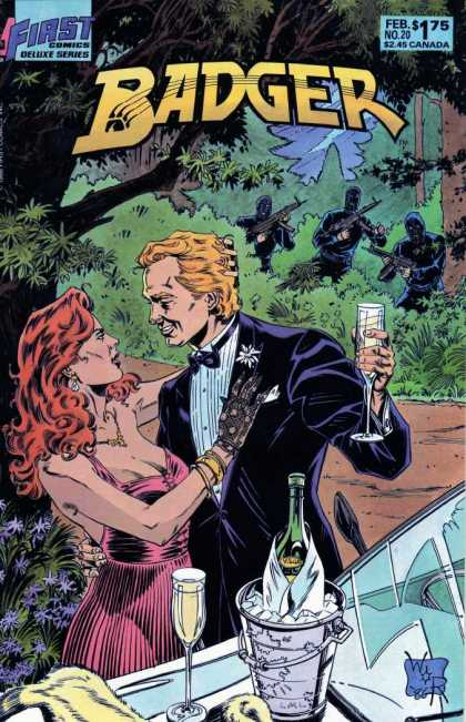 Badger 20 - First Comics - February - Redhead - Champagne - Guns - Bill Reinhold