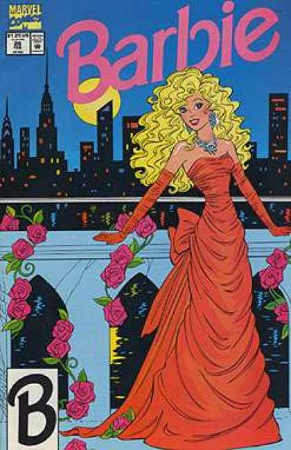 Barbie 26 - Red Evening Gown - Flowers - Night - City - Marvel
