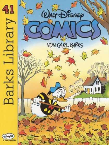 Barks Library 120 - Donald Duck - Autumn - Cleaning Leaves - Falling Leaves - Raking