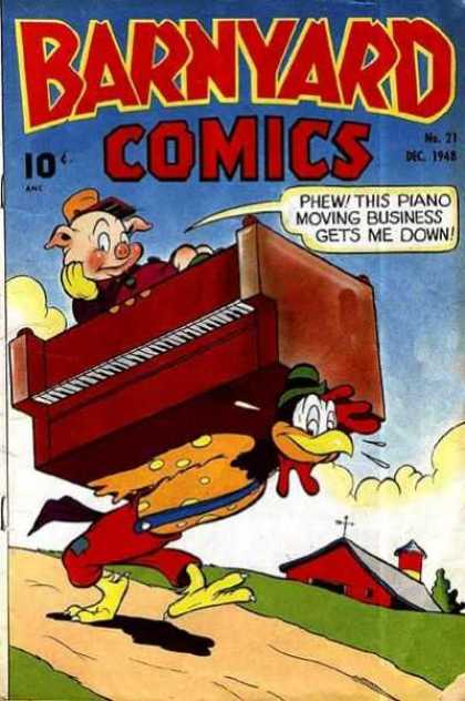 Barnyard Comics 21 - Pig - Piano - Chicken - Barn - Dirt Road