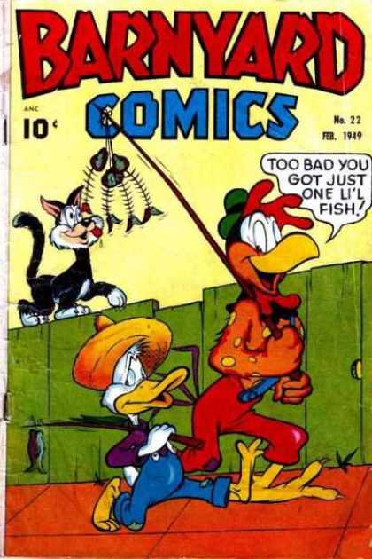 Barnyard Comics 22 - Cat - Fishing Poles - Rooster - Duck - Fence