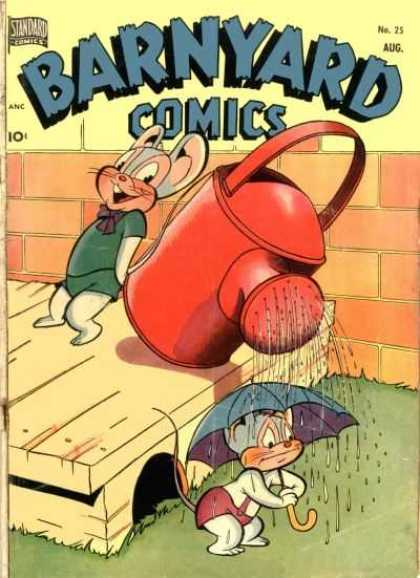 Barnyard Comics 25 - Watering Can - Umbrella - Mice - Brick Wall - Pouring Water