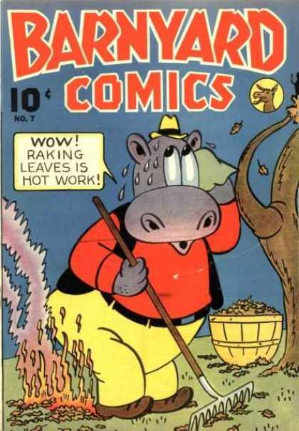 Barnyard Comics 7 - Wow - Brusher - Raking Leaves Is Hot Work - No7 - Tree