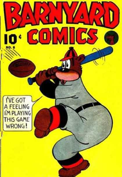 Barnyard Comics 8 - Bear - Bat - Football - Uniform - Swing