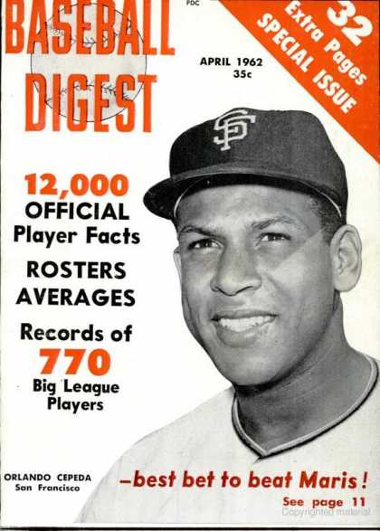 Baseball Digest - April 1962