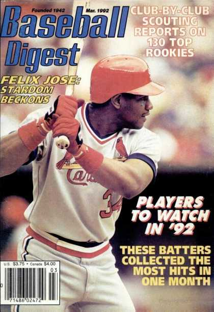 Baseball Digest - March 1992