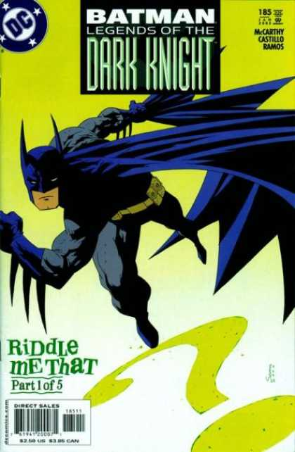 Batman: Legends of the Dark Knight 185 - Batman - Riddler - Riddle Me That Part 1 - Question Mark - Dark Knight