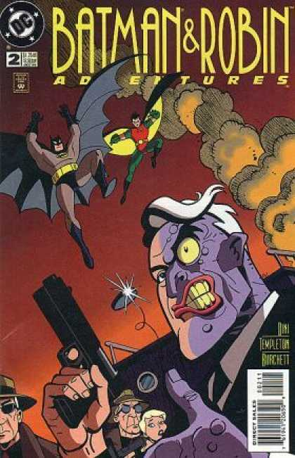 Batman & Robin Adventures 2 - Two-face - Leaping Batman - Leaping Robin - Villain - Gun