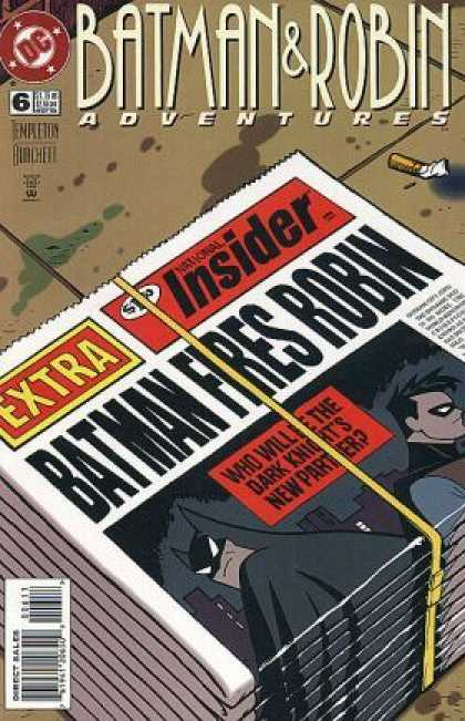Batman & Robin Adventures 6 - Batman Fires Robin - Batman Fire Robin - Newspaper - Sidewalk - No 6