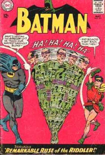 Batman 171 - Robin - Remarkable Ruse Of The Riddler - Punching - Knockout Blows - Bounces Right Back - Carmine Infantino