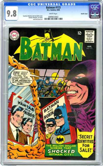 Batman 173 - The Million Dollar Scheme That Shocked Gotham City - Aug - Secret Identities For Sale - Approved By The Comics Code Authority - Robin While Weve Been Trying To Uncover The Secret Identiy Of Mr Igcognito Hes D - Carmine Infantino