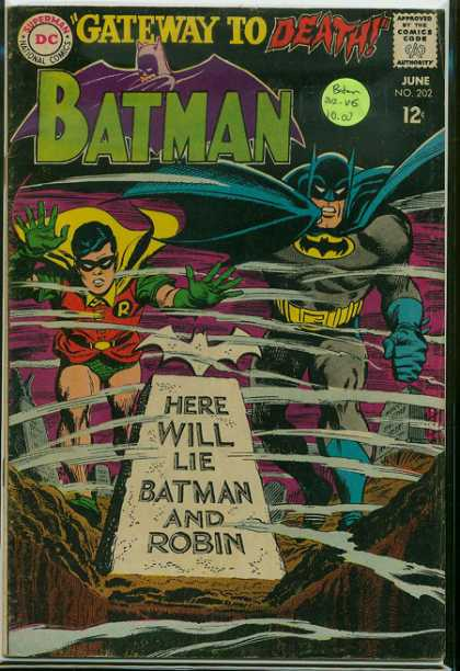 Batman 202 - Here Will Lie Batman And Robin - Robin - Tombstone - Graveyard - Wind