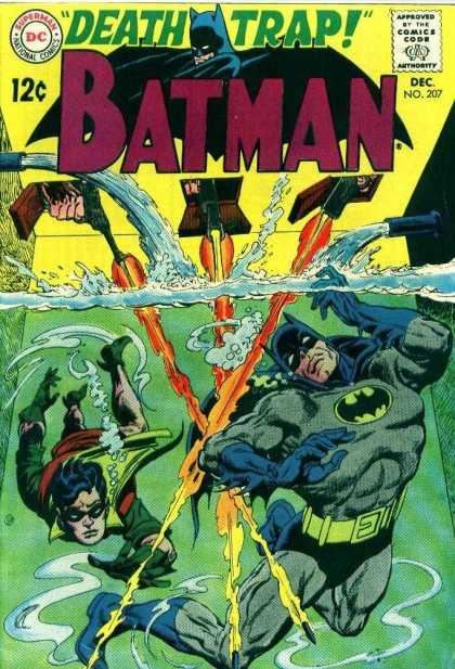 Batman 207 - Death Trap - Issue Number 207 - Batman And Robin In Water - Guns Blazing Into The Water - 12 An Issue - Carmine Infantino
