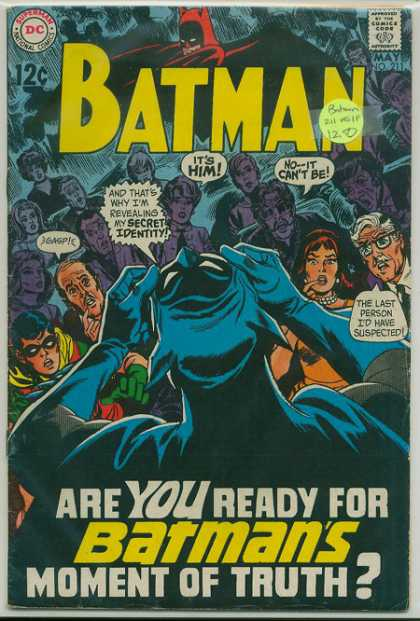 Batman 211 - Unmasked - Remove Mask - Secret Identity - Robin - Gasp