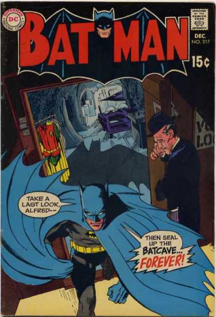 Batman 217 - Bat Moblie - Bat Cave - Butler - Grief - Uniform - Neal Adams