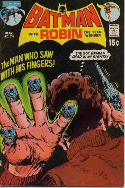Batman 231 - Hand - Revolver - Batman On Finger Tips - The Man Who Saw With His Fingers - Brown Sweater - Neal Adams