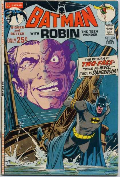 Batman 234 - Ship - Ocean - Funny Face - Blue Cape - Sails - Neal Adams