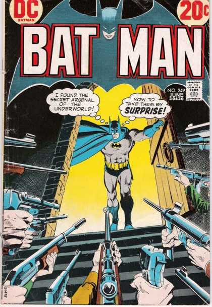 Batman 249 - Batman Coming Through A Doorway - Guns - Batman Talking - Yellow Background - Black Walls - Dick Giordano