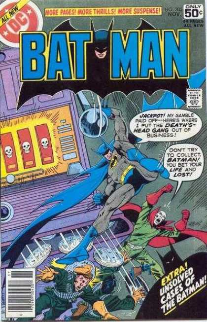 Batman 305 - Skulls - Blue Cape - Red Cape - Coins - Gun - Jim Aparo