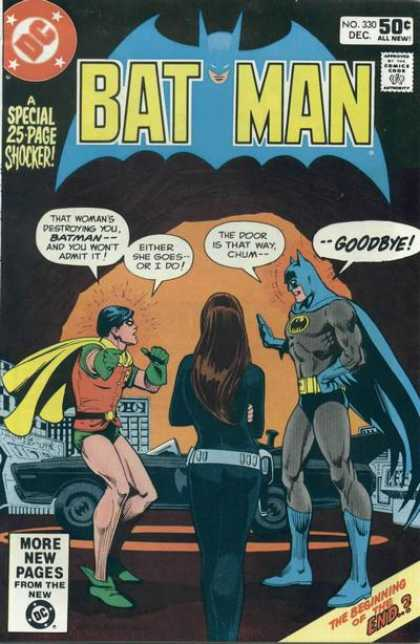 Batman 330 - Robin - Cat Woman - Batmobile - Batcave - Argument - Dick Giordano, Ross Andru